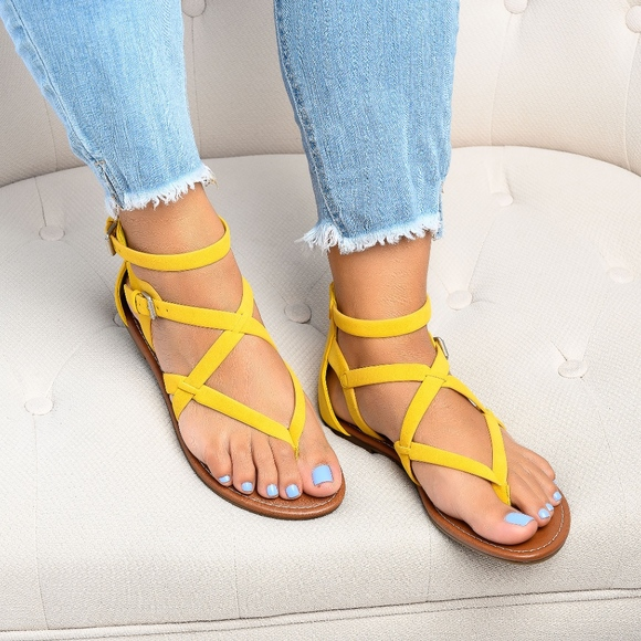 SunnyMia Shoes - Yellow Perfect Gladiator Sandals